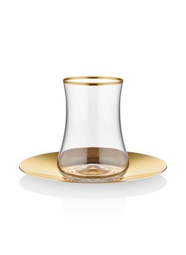 Dervish Çay Seti 6lı Mat Altın Çelik Tabak-Koleksiyon